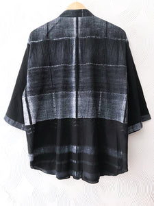 Black Shibori Drawstring Top