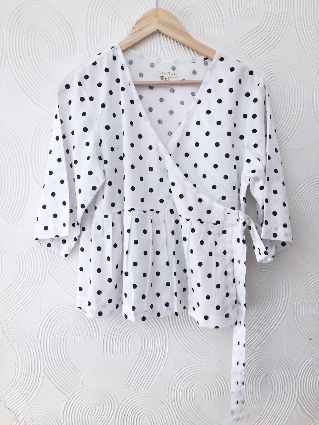 White Polka Wrap Top