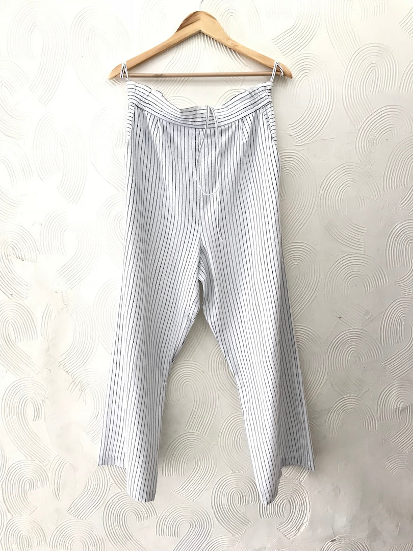 White Stripes Cotton Pants