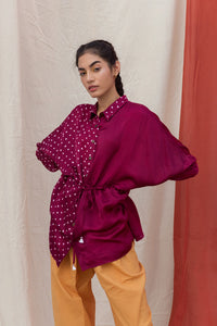 WINE HAND-DONE BANDHANI SILK TOP