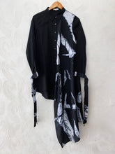 Zebra Shibori Black asymmetrical shirt dress
