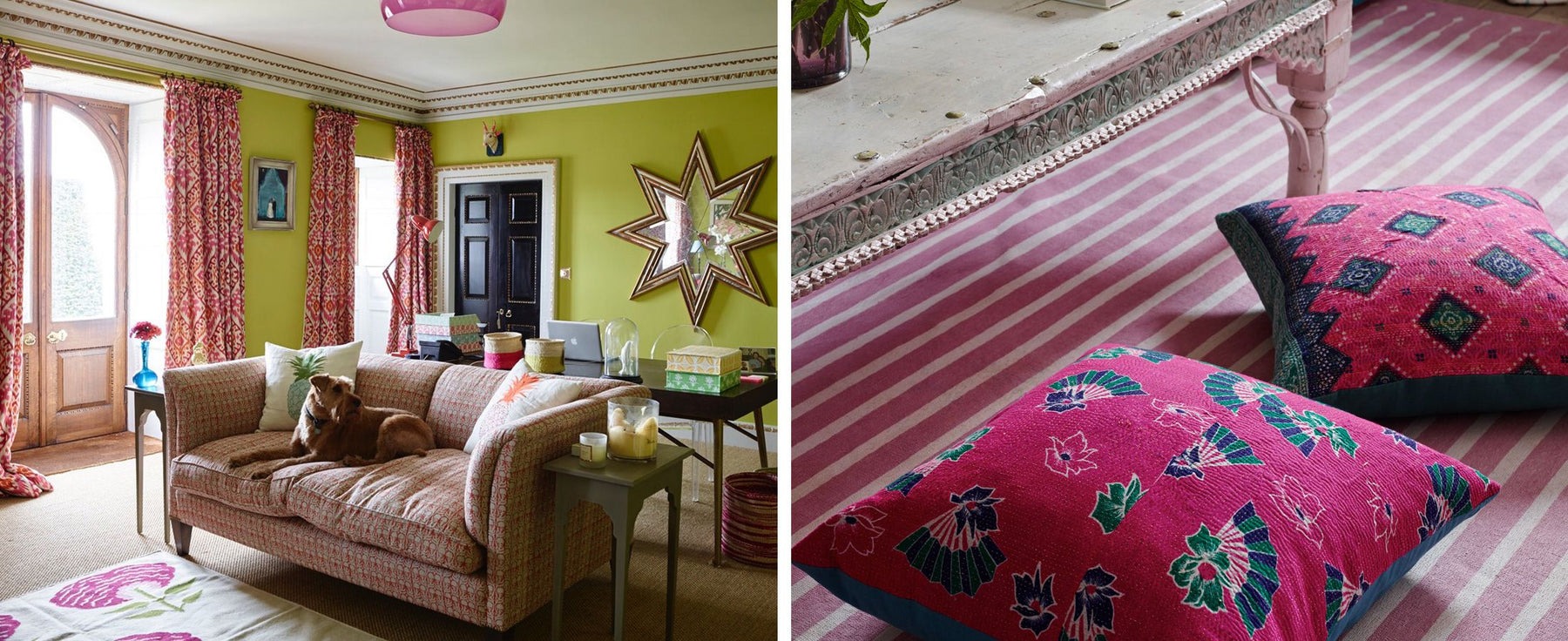 Holkham Hall dressed using textiles created by Bombay Sprout in Norfolk