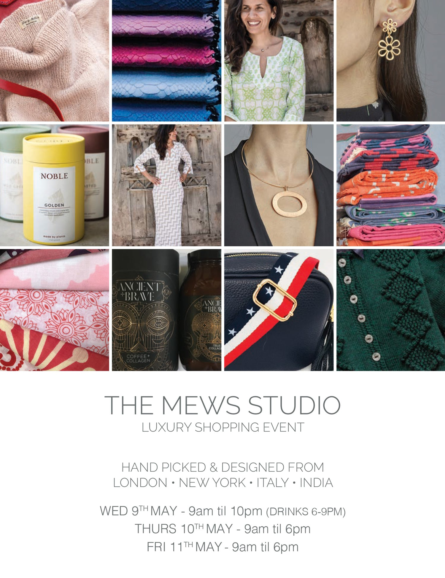 Invitation to Mews Studio luxury shopping event