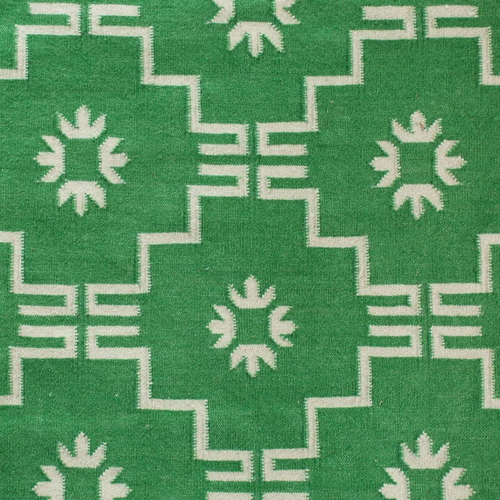 Lalit Dhurrie Rug in Mid Green and Off White