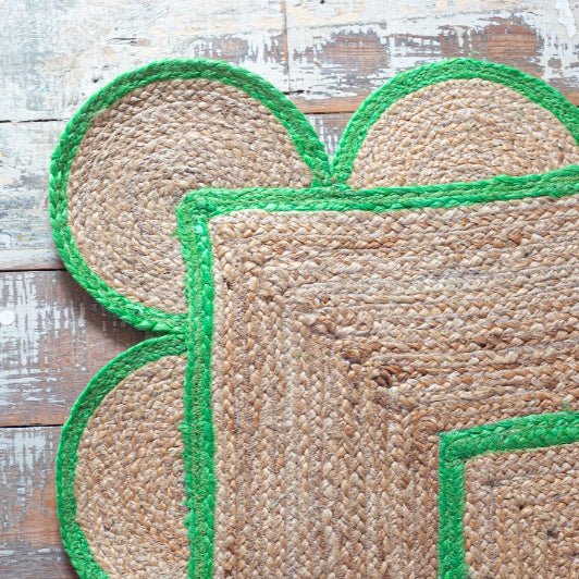 Jute Scallop Dhurrie Rug in Bright Green