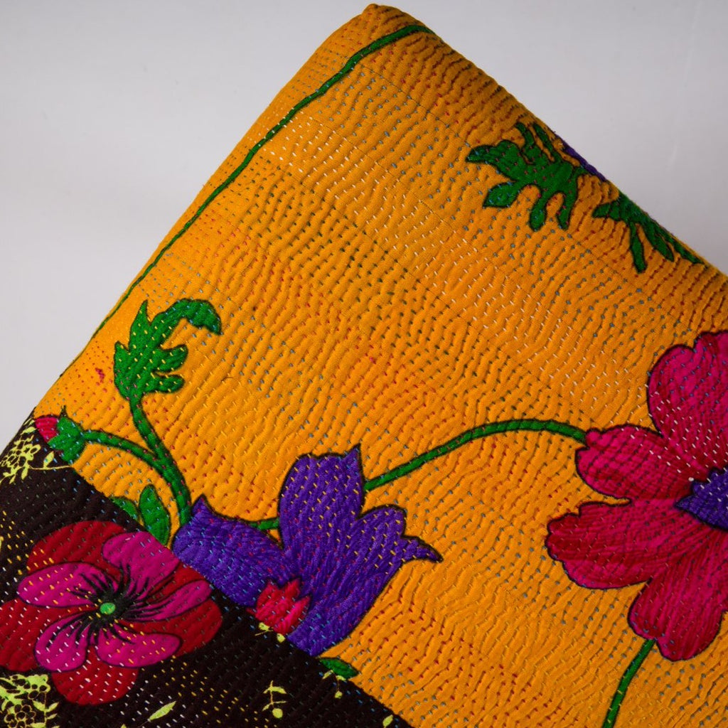 Yellow Floral Ottoman