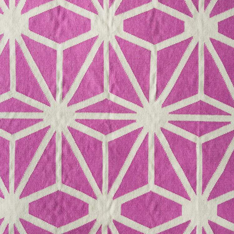Starburst Dhurrie Rug in Fandango Pink and Off White