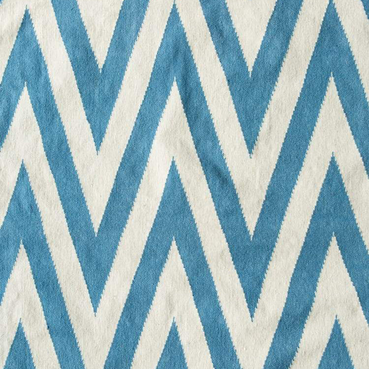 Pondicherry Dhurrie Rug in Blue and Off White