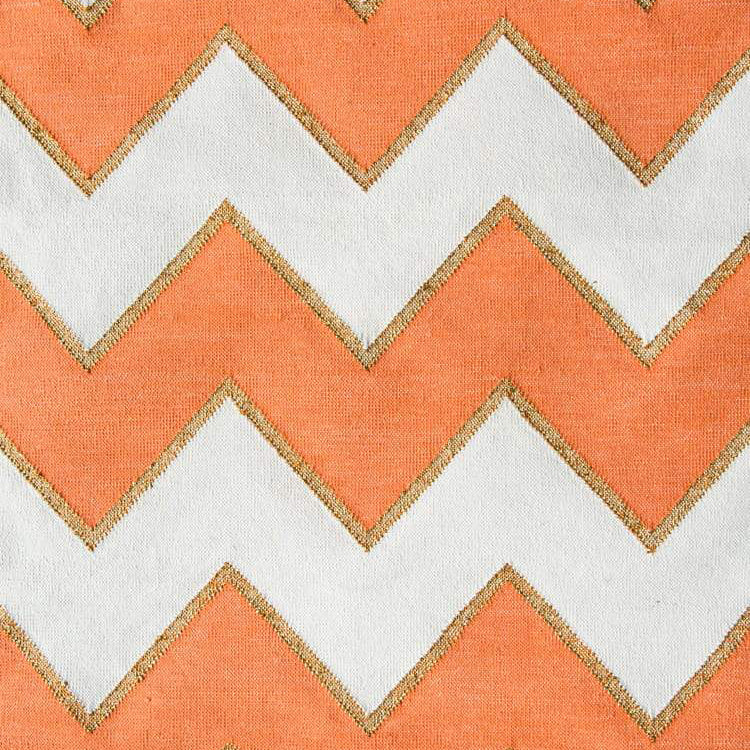 Shiva Zig Zag Rug in Orange and White and Gold