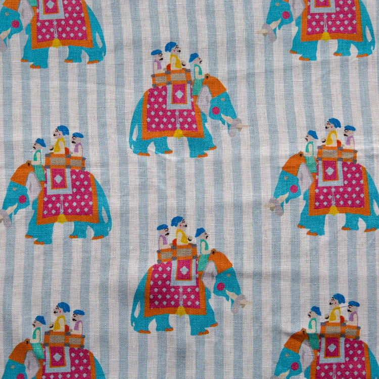 Blue stripe Diggi Boys on Elephants linen fabric by Bombay Sprout