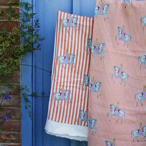 Mughal Horse linen fabric by Bombay Sprout