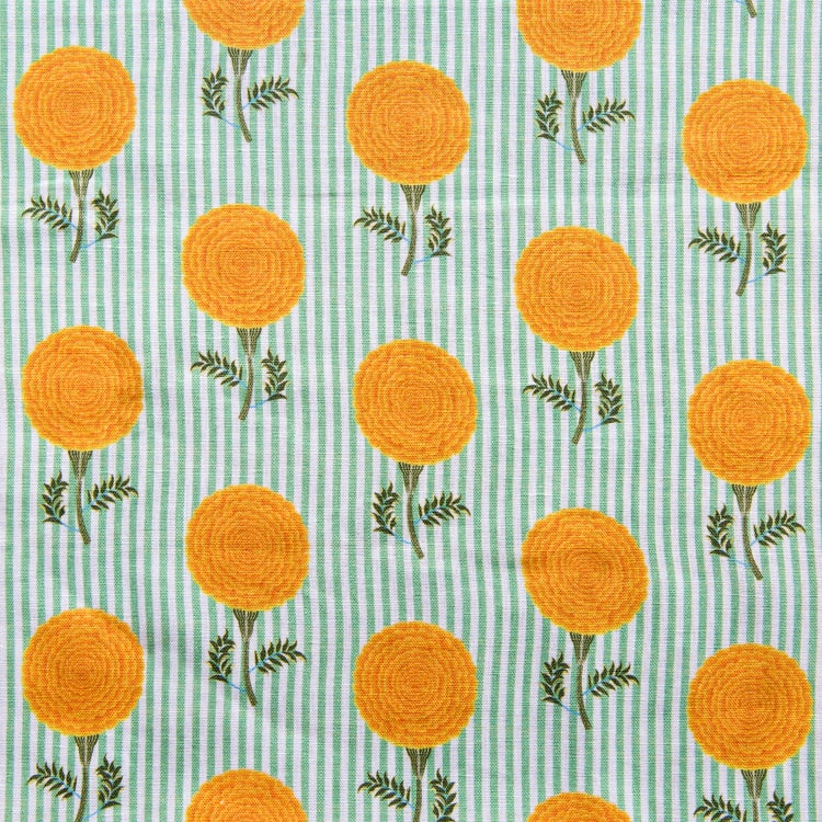 Mughal Marigolds striped linen fabric by Bombay Sprout