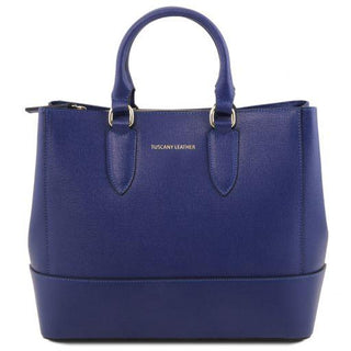 Sac en cuir bleu 2 compartiments - FashionBag.fr
