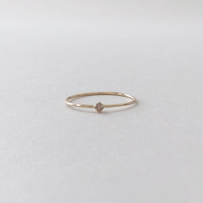 Tiny Champagne Diamond Ring