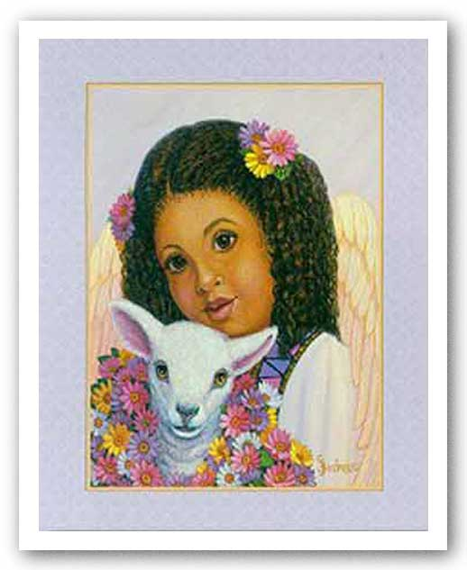 Girl Angel with Lamb