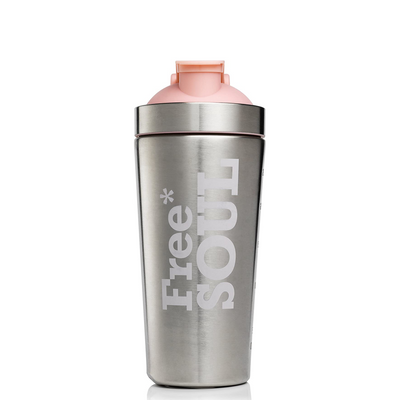 Steel shaker with pink lid on a white background.