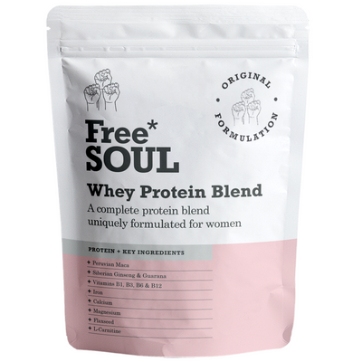 A bag of whey protein blend