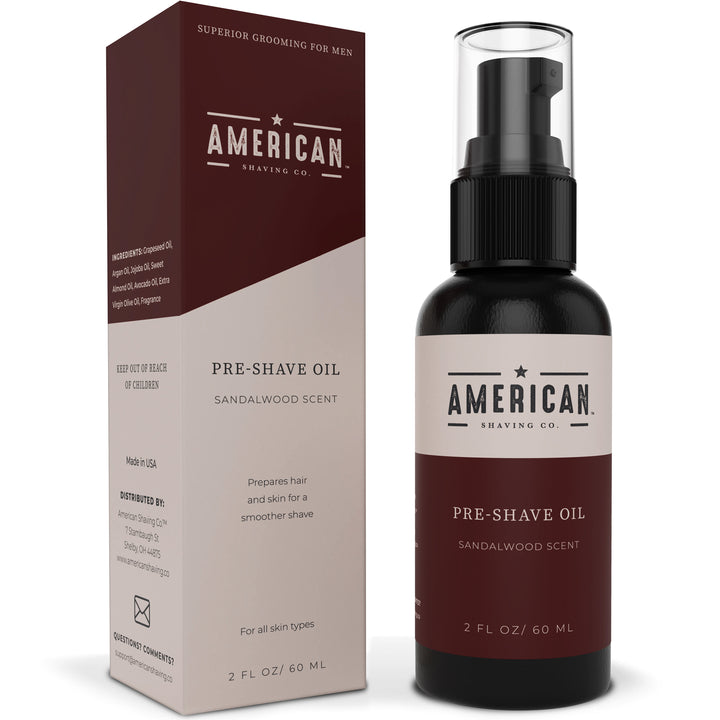 American Shaving Pre-Shave Oil, Sandalwood Barbershop Scent, 2 fl. oz. (Packaging May Vary)