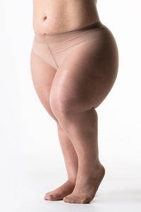 woman with dwarfism wearing skin coloured tights