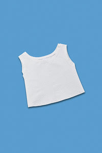 white crop top with little dots for people dwarfism