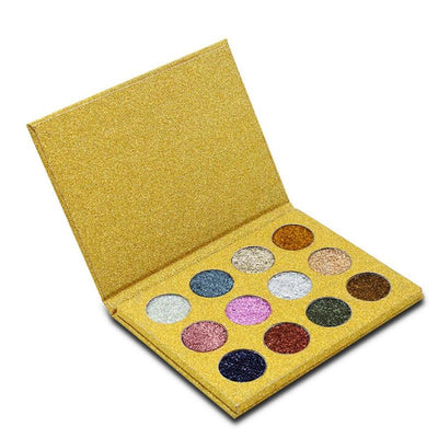 12 Color Pressed Glitter Eyeshadow Palette