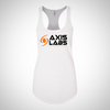 axis labs white tank top with logo