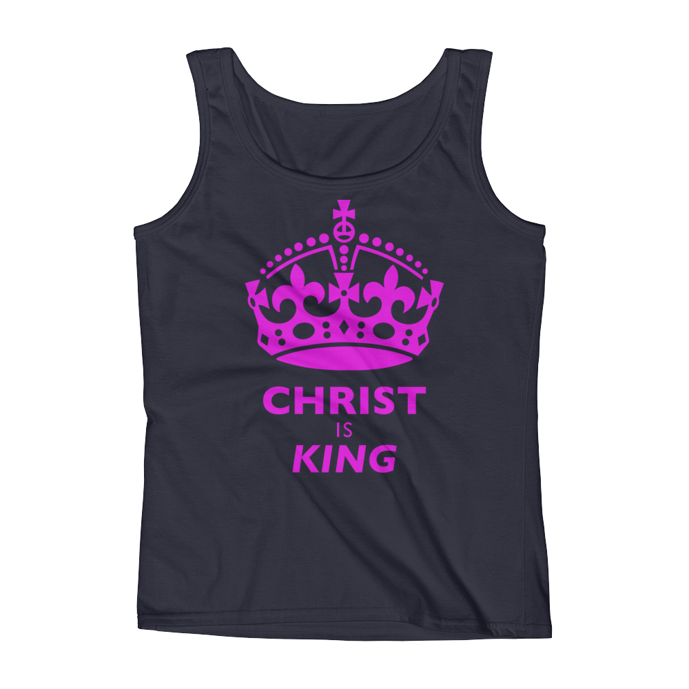 Christian Clothing Navy Christ is King DesignTank Top