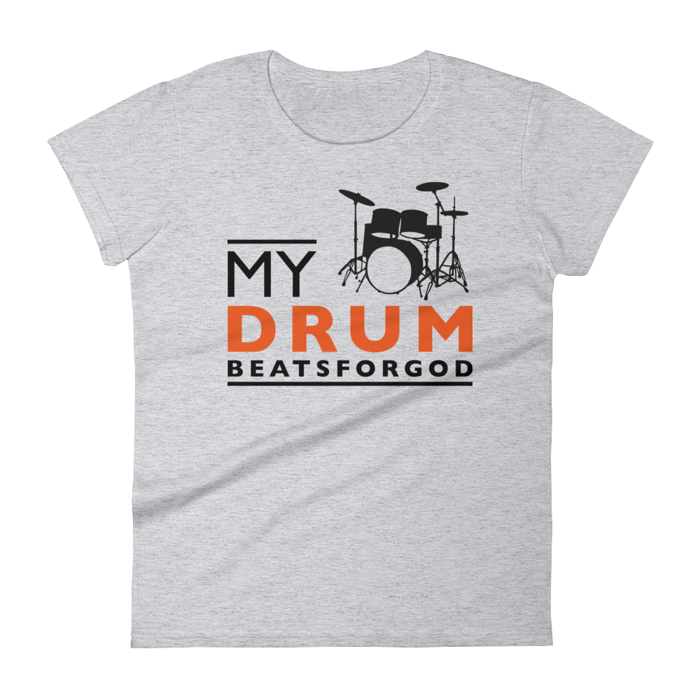 Christian Tees Grey My Drum Beats Design Fitted Tee