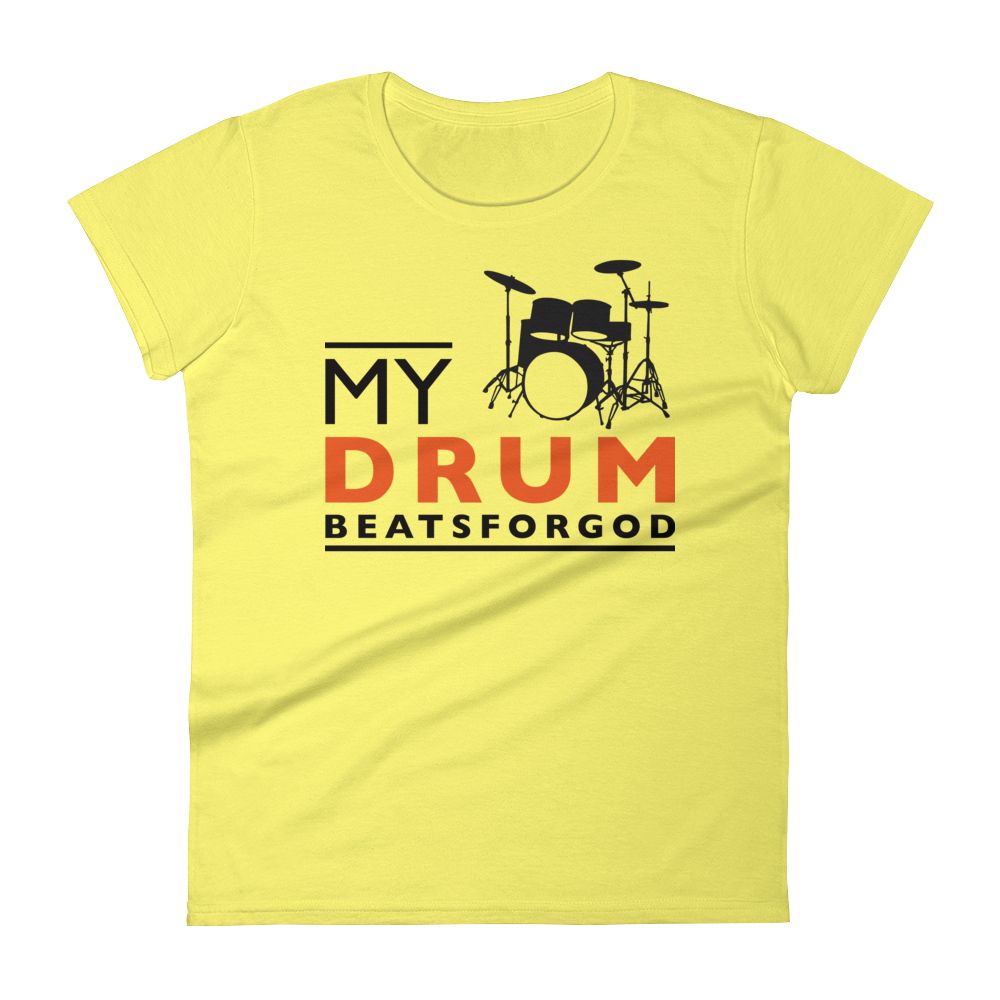 Christian Tees Yellow My Drum Beats Design Fitted Tee