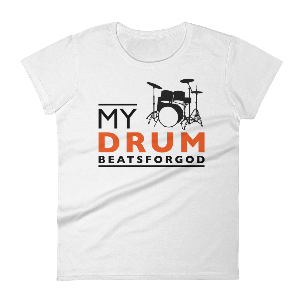 Christian Tees White My Drum Beats Design Fitted Tee