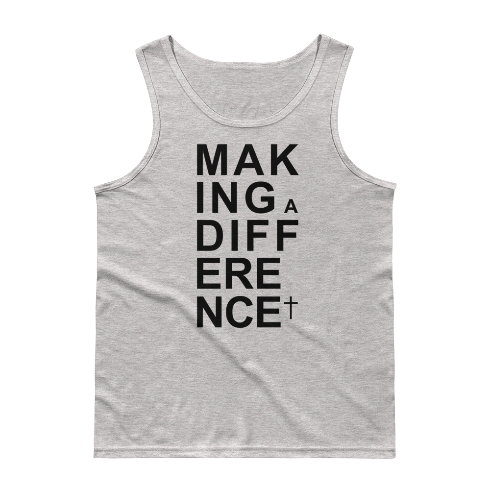 Christian Clothing Grey Making a Difference Design Tank Top