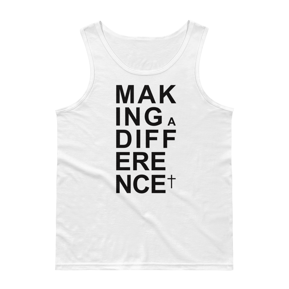 Christian Clothing White Making a Difference Design Tank Top
