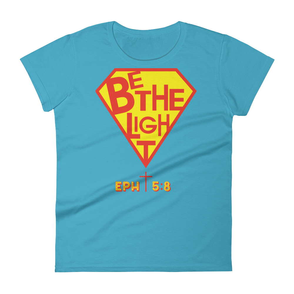 Christian Clothing Blue Be The Light Fitted Women's Tee