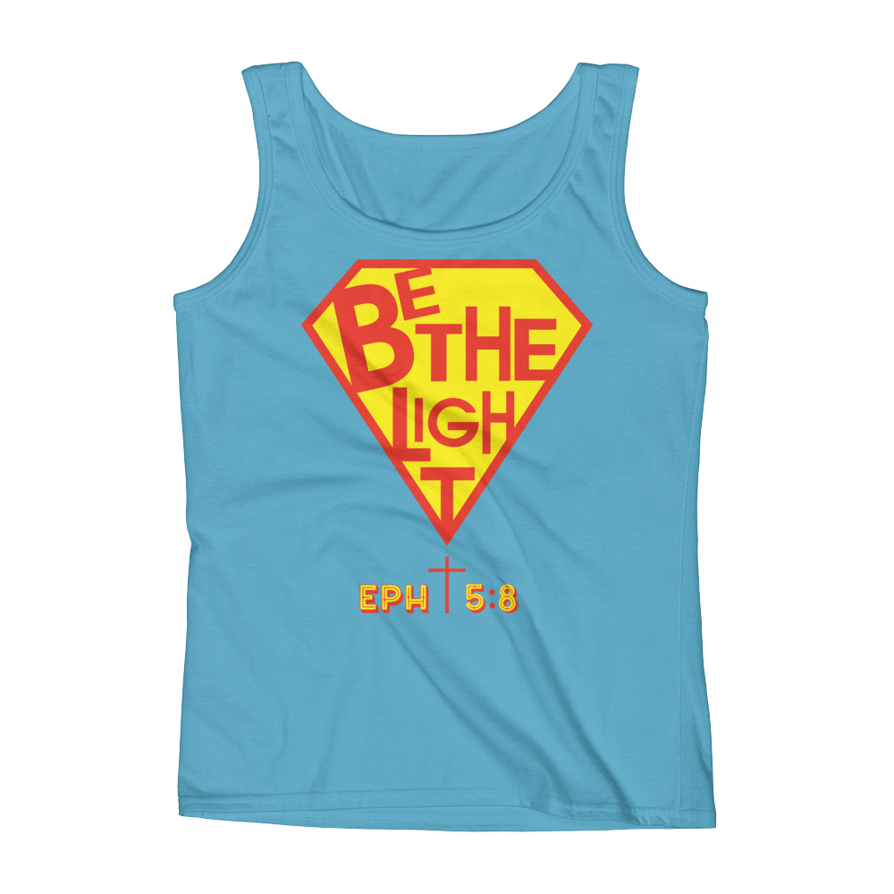 Christian Clothing Blue Be The Light Tank Tops
