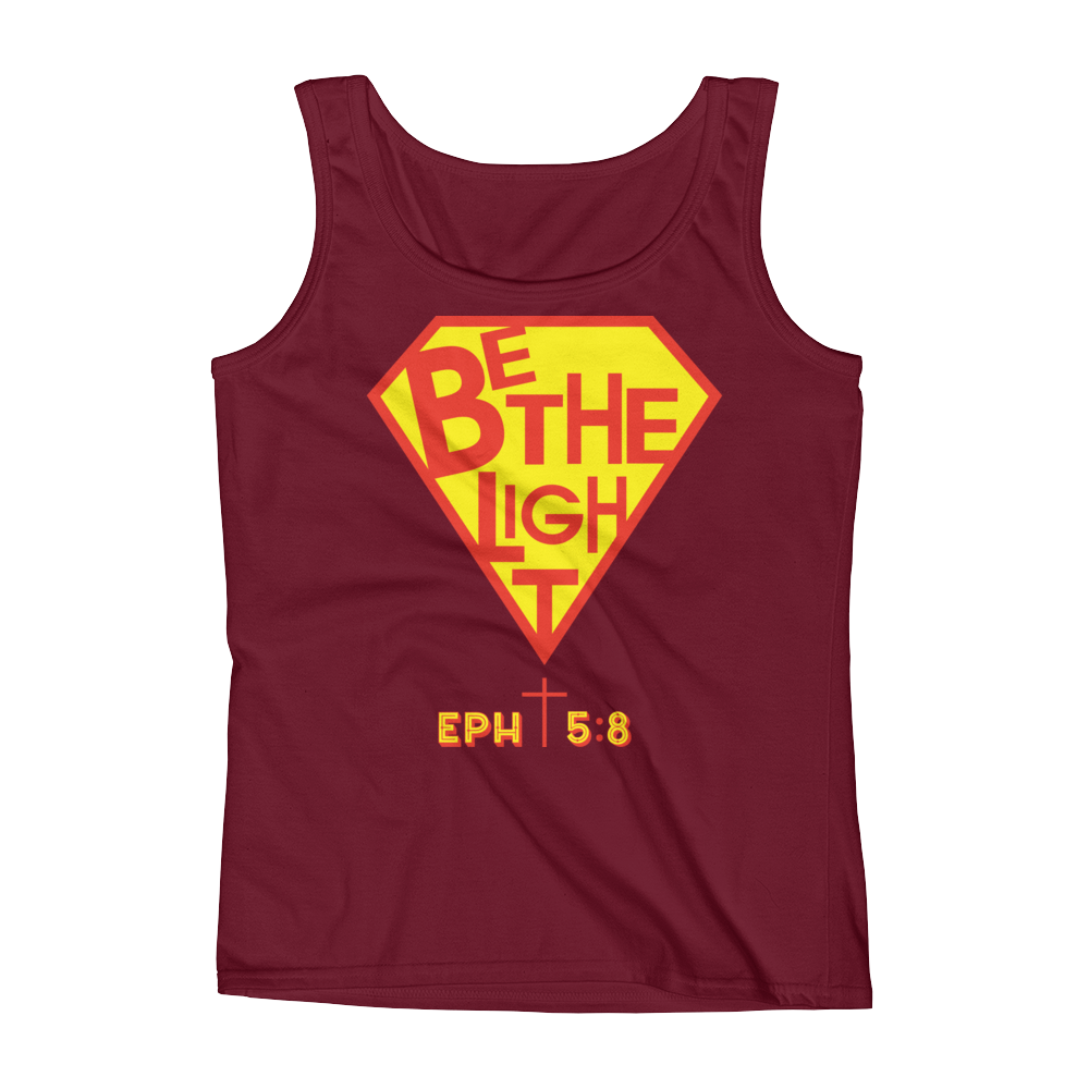 Christian Clothing Red Be The Light Fitted Tank Tops