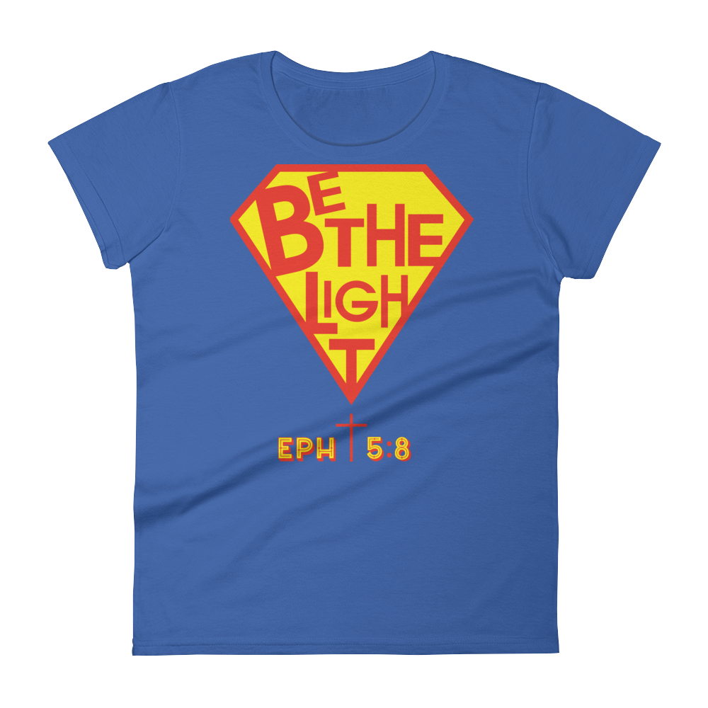 Christian Clothing Royal Blue Be The Light Fitted Women's Tee