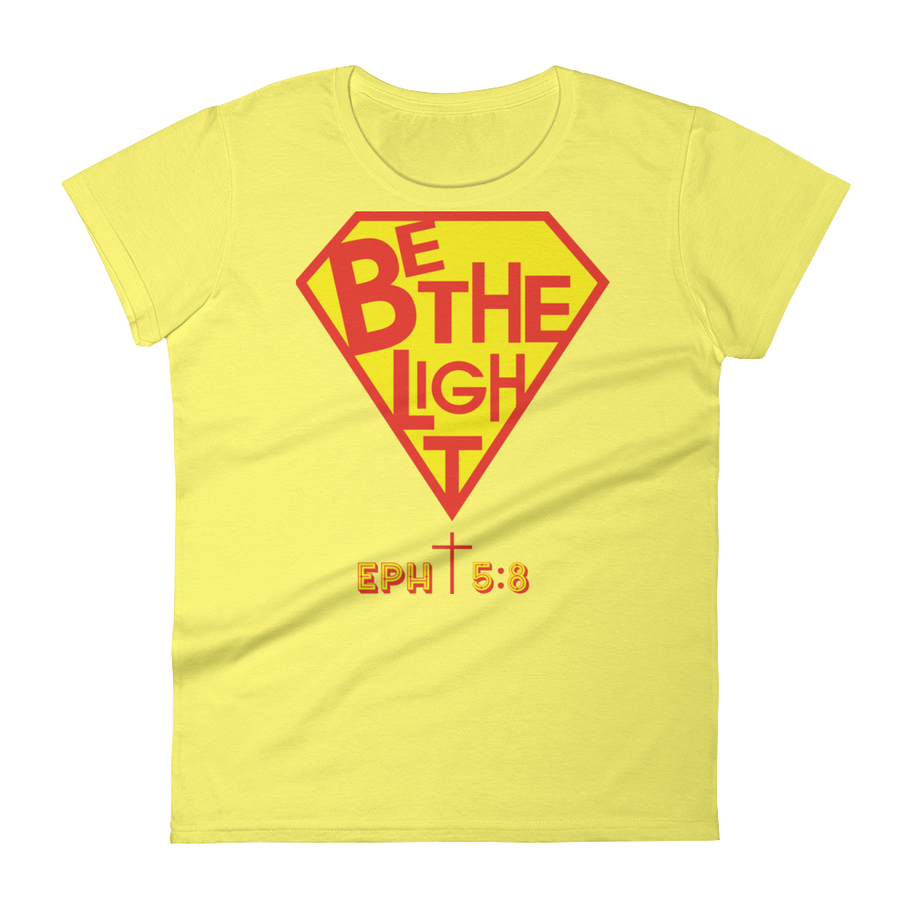 Christian Clothing Yellow Be The Light Fitted Women's Tee
