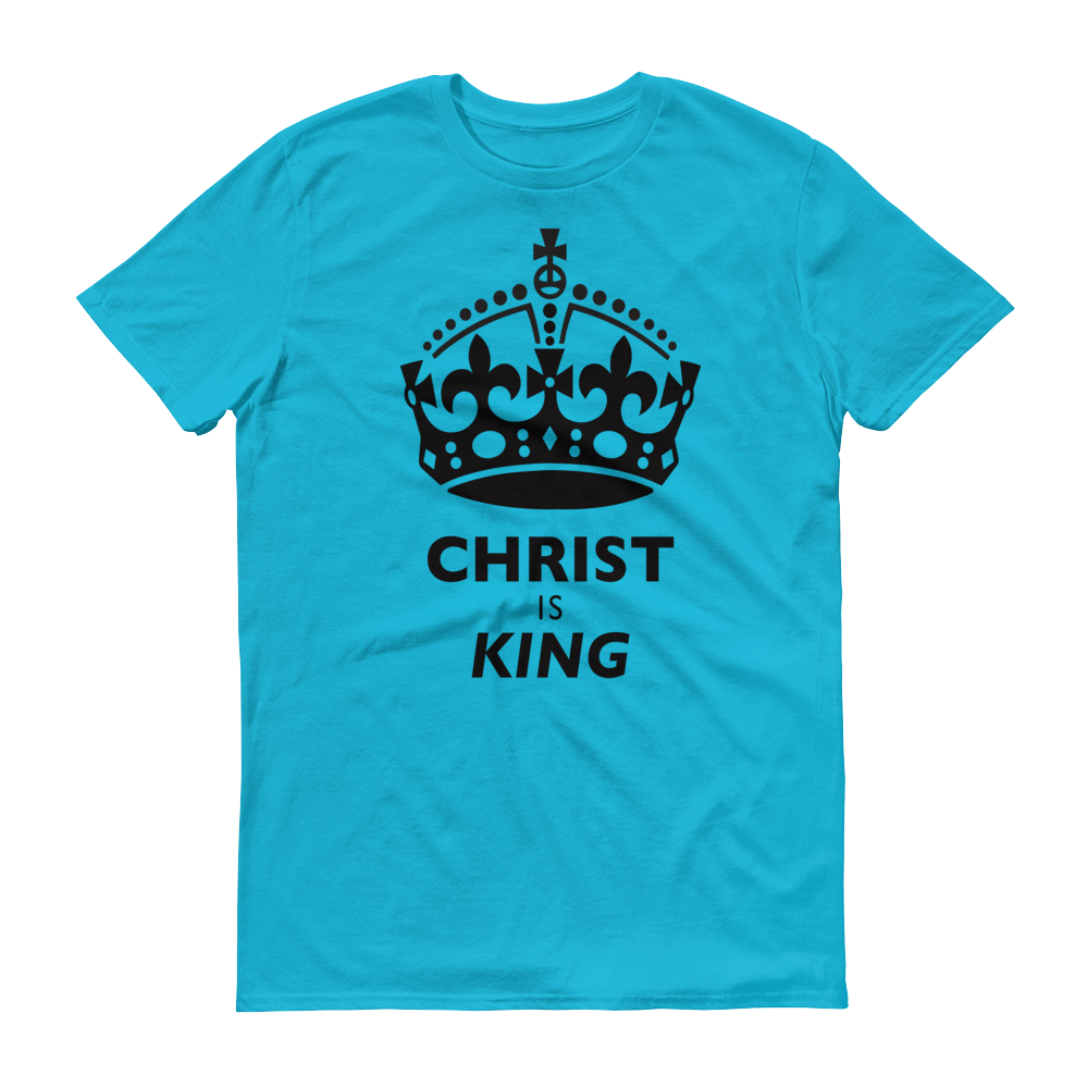 Christian Clothing Blue Christ is King Design Tee
