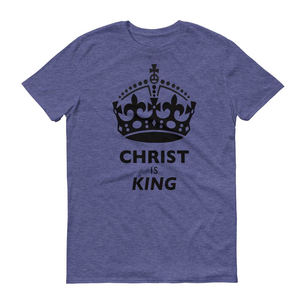 Christian Clothing Heather Blue Christ is King Design Tee