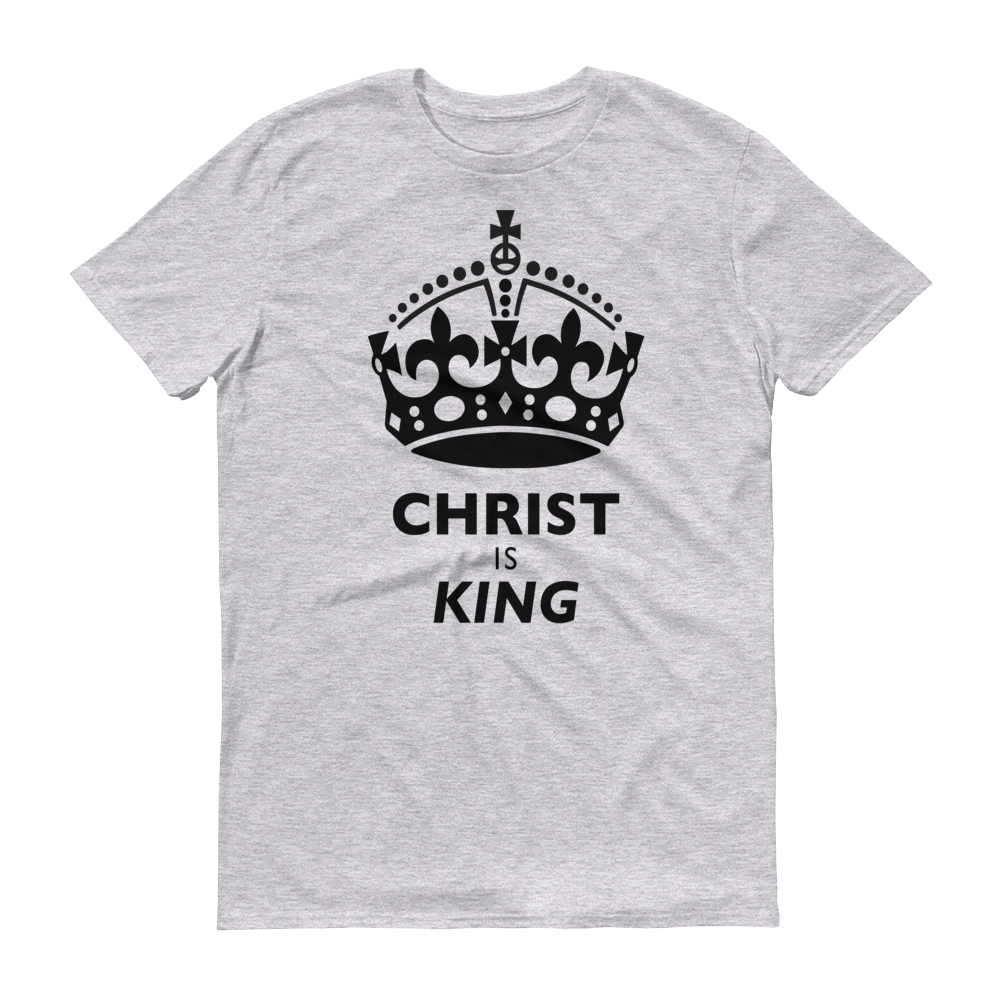 Christian Clothing Grey Christ is King Design Tee