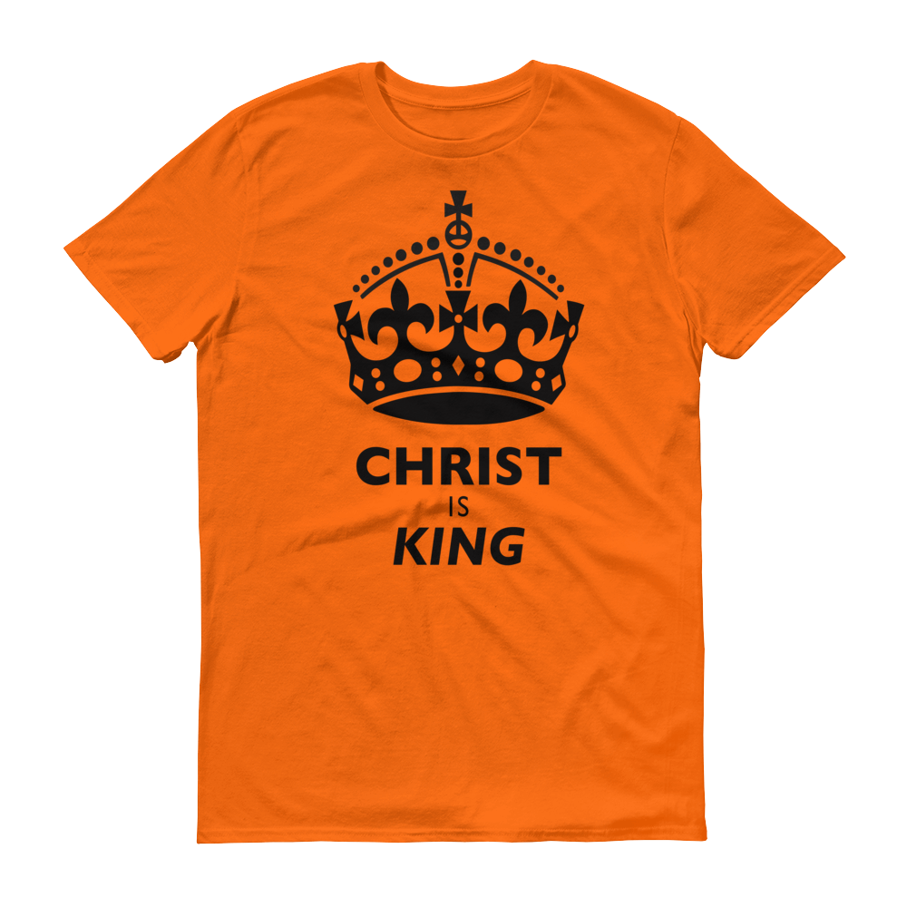Christian Clothing Orange Christ is King Design Tee