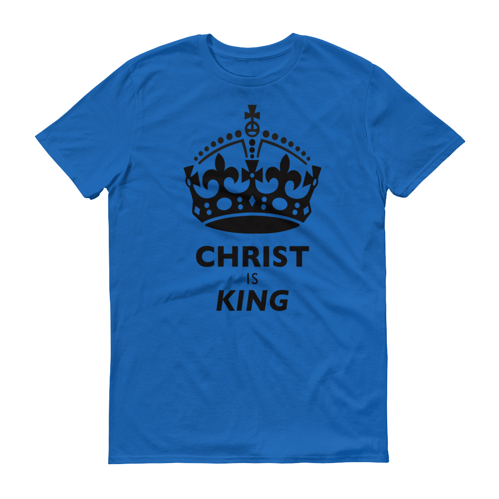 Christian Clothing Royal Blue Christ is King Design Tee
