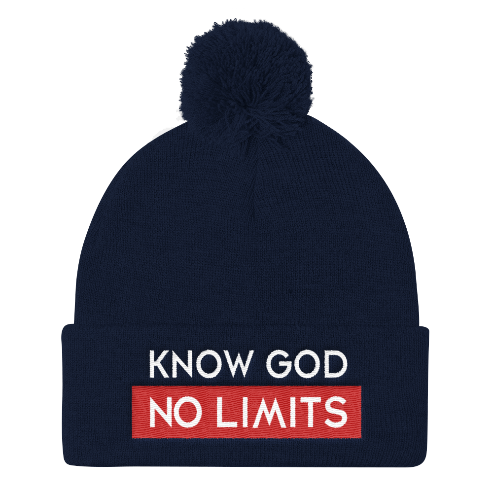 Christian Accessories Blue Know God Pom Pom Hat