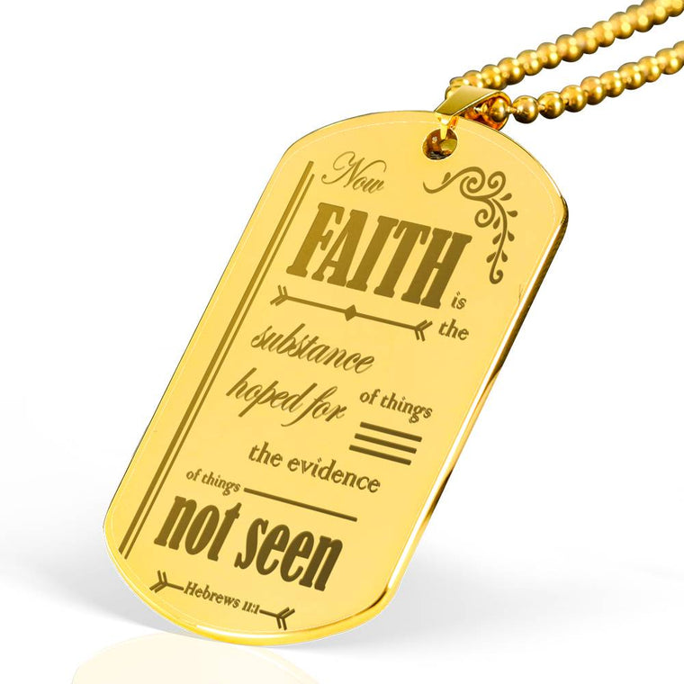 Faith Scripture 18k Gold Plated Dog Tags