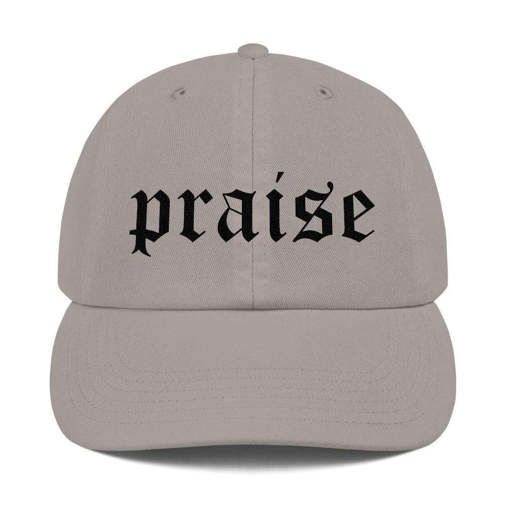 Christian Caps Praise Champion Dad Cap Grey With Black Lettering Front