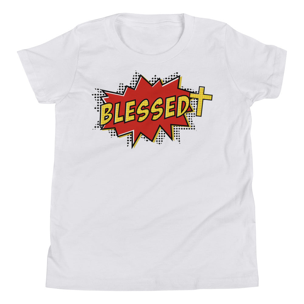 Christian Clothing White Blessed Design Youth T-shirt