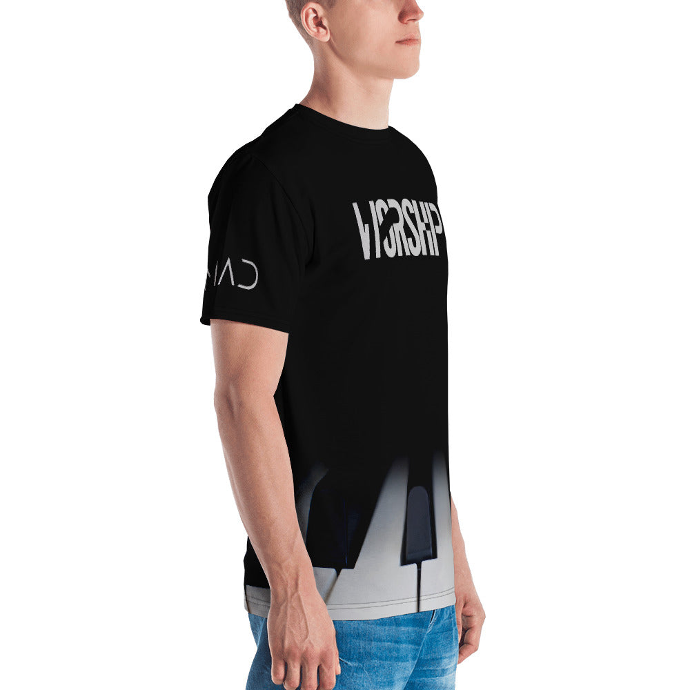 Christian Clothing Black Tee with white Worship Logo and Piano Keys Image Right
