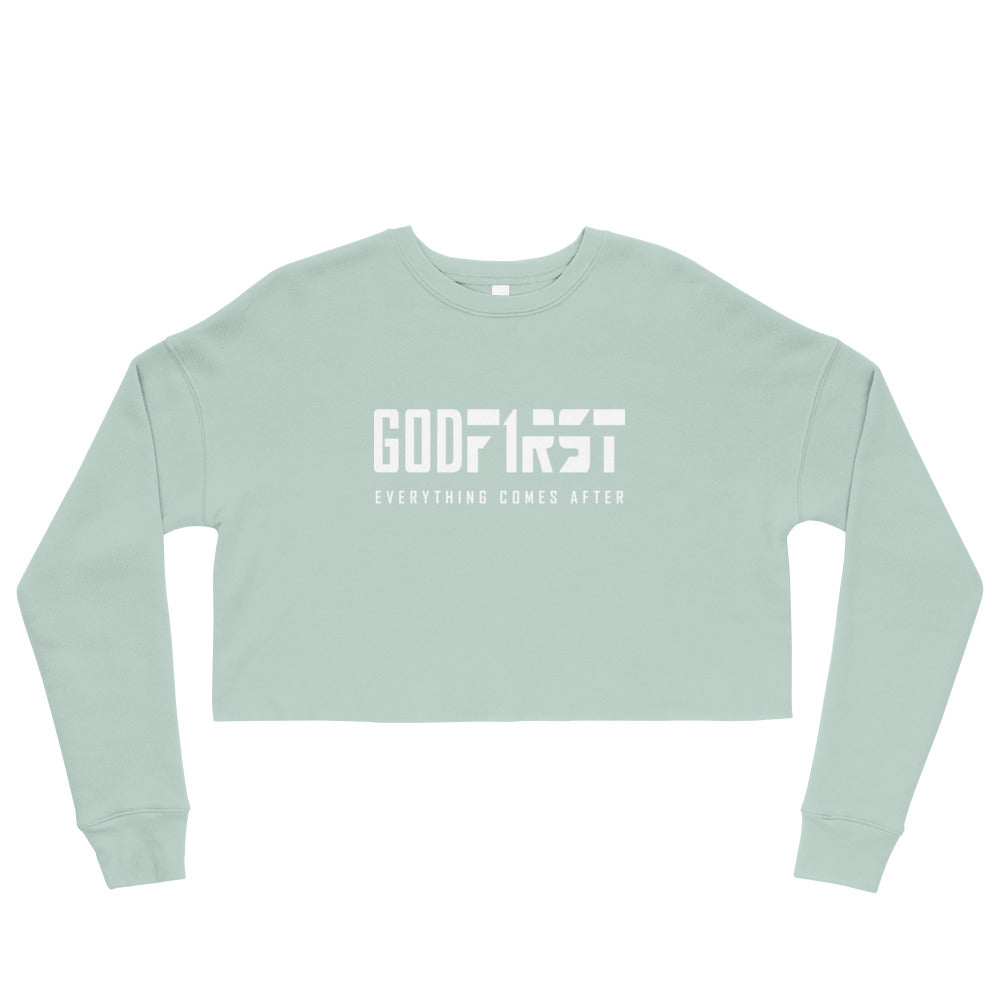 Christian Clothing Blue God First design White Lettering Cropped Sweatshirt