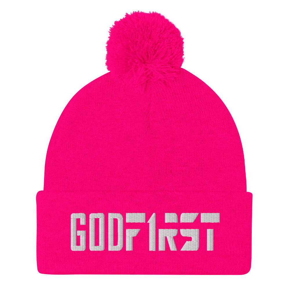 Christian Pom Pom Beanie Candy Pink with white God First Embroidered design