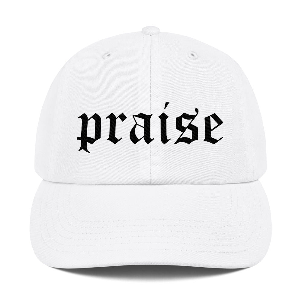 Christian Caps Praise Champion Dad Cap White With Black Lettering Front